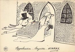 Dessin Publicité Par Sine Mariage  Envoi Timbré Au Dos 1956 Atarax UCB 20cm X 14cm - Posters