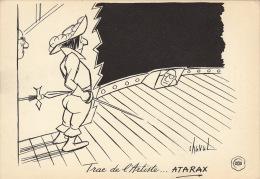 Dessin Publicité Par Chaval Envoi Timbré Au Dos 1957 Atarax UCB 20cm X 14cm - Posters