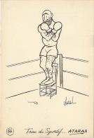 Dessin Publicité Par Chaval Boxe Envoi Timbré Au Dos 1957 Atarax UCB 20cm X 14cm - Posters