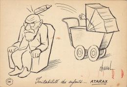 Dessin Publicité Par Chaval Envoi Timbré Au Dos 1956 Atarax UCB 20cm X 14cm - Posters