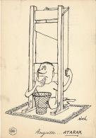 Dessin Publicité Par SINE Guillotine Envoi Timbré Au Dos 1956 Atarax UCB 20cm X 14cm - Posters