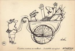 Dessin Publicité Par SINE Envoi Timbré Au Dos 1957 Atarax UCB 20cm X 14cm - Posters