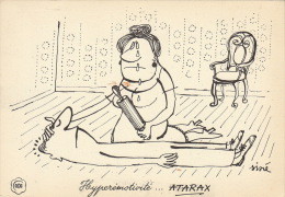 Dessin Publicité Par SINE Envoi Timbré Au Dos 1956 Atarax UCB 20cm X 14cm - Posters