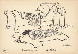 Dessin Publicité Par ANDRE FRANÇOIS  Envoi Timbré Au Dos 1956 Atarax UCB 20cm X 14cm - Afiches & Offsets