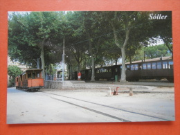 31605 PC: SPAIN: BALEARIC ISLANDS: MAJORCA: Soller: TRAIN And Carriages In The Railway Station. - Trains