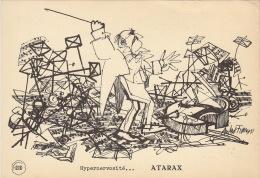 Dessin Publicité Par ANDRE FRANCOIS Orchestre Envoi Timbré Au Dos 1956 Atarax UCB 20cm X 14cm - Posters