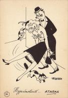 Dessin Publicité Par Bernard Aldebert Envoi Timbré Au Dos 1957 Atarax UCB 20cm X 14cm - Posters