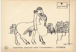 Dessin Publicité Par Andre François   Atarax UCB 20cm X 14cm - Posters