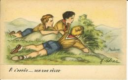 CPA  Illustration J. IDRAC, à L´affût, Sur Une Piste, Scouts  9136 - 1900-1949