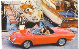 FIAT 850 Spider Postcard With Yachts Printed In Torino C. 1965 - Toerisme