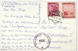1947 Österreichische Zensurstelle 600 W. Auf AK Nach Dänemark - 1945-60 Brieven