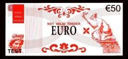 """Test Note """"Unknown Printer"""", 50 EURO, Testnote, Beids. Druck, RRRR, UNC, 153 X 70 Mm - EURO"""