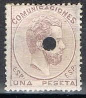 Sello 1 Pta Amadeo 1872, Perforado Telegrafos, Num 127T º - 1872-73 Reino: Amadeo I