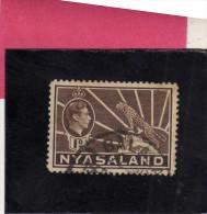 NYASALAND PROTECTORATED NYASSALAND 1937 1944 KING GEORGE VI RE GIORGIO 1 D BROWN USED - Nyasaland (1907-1953)