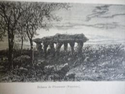 Dolmen De Plouneour , Finistére , Gravure De Peulot Dessin De Clerget 1875 - Documents Historiques