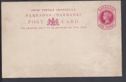 BARBADE -  1882-86 - ENTIER POSTAL  1 PENNY ROUGE REINE VICTORIA NEUVE - - Barbades (1966-...)