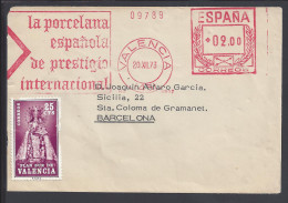 ESPAGNE - 1973 -  ENVELOPPE AVEC OBLITERATION E.M.A. DE VALENCE POUR BARCELONE - - Cartas