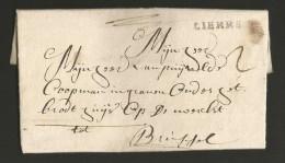 """Belgique - pr�curseur - LAC de Lier (""""LIERRE"""" cachet noir) vers Bruxelles du 31/10/1755 - port """"2"""""""