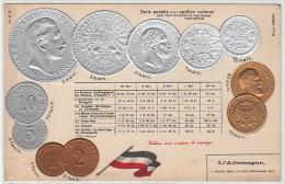 MONNAIES : pi�ces allemandes vers 1900 (carte gaufr�e) - tr�s bon �tat