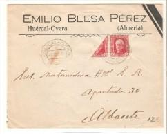 Carta Matasello Huercal-overa  (almeria)  Con Sello Viseccionado. 1937 - 1931-50 Briefe U. Dokumente