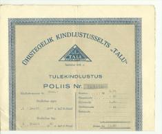 Estland Estonia Estonie Versicherungspolis Insurance Police 1940 Versicherungsgesellschaft TALU - Bank & Insurance