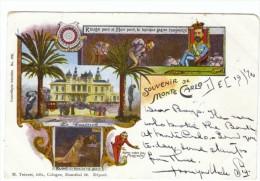 Souvenir De Monaco, Casino, Dangers Of Gambling, Devil, Man Hangs Himself, Humor C1890s/1900s Vintage Postcard - Casino