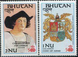SA0037 Bhutan 1987 Columbus And Emblem 2v MNH - Bhutan