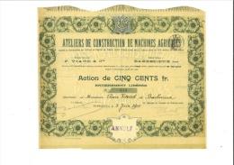 Ateliers De Construction De Machines Agricoles 5 Juin 1900 - Agricultura