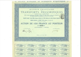 Transports Frigorifiques - Action De 100 Francs 17 Juin 1899 - Transports