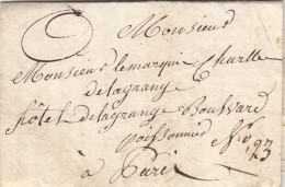 B42) LAC De Delagrange ? Le 24 Janvier 1831 Pour Un Le Marquis Charles Delagrange Par Porteur - Postmark Collection (Covers)