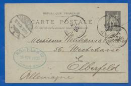 Frankreich; Entier Postal 10 Cent; 1900 Von Paris Nach Elberfeld; Stempel Firma Bing Fils & Co - Cartes Postales Types Et TSC (avant 1995)