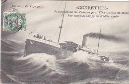 23168 IMERETHIE Transportant Troupes Occupation Maroc Mauvais Temps Mediterranee -ed Grimaud -timbre 5c  Surcharge - Guerre