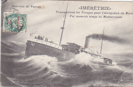 23168 IMERETHIE Transportant Troupes Occupation Maroc Mauvais Temps Mediterranee -ed Grimaud -timbre 5c  Surcharge