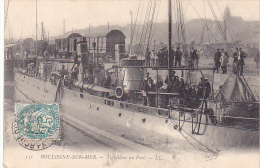 23170 BOULOGNE Sur Mer - Torpilleur Au Port -131 LL -bateau Militaire Marin Train