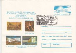 FIRST STAMP ANNIVERSARY, PHILATELIC EXHIBITION, COVER STATIONERY, ENTIER POSTAL, 1988, ROMANIA - Philatelic Exhibitions