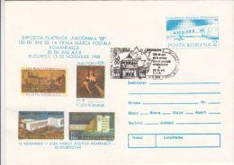 FIRST STAMP ANNIVERSARY, PHILATELIC EXHIBITION, COVER STATIONERY, ENTIER POSTAL, 1988, ROMANIA - Briefmarkenausstellungen