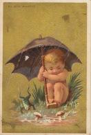 Chromo Doré Au Bon Marché Grenouille Parapluie Pluie Testu Massin - Au Bon Marché
