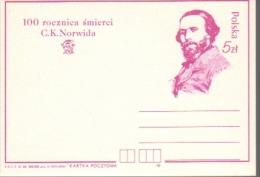 P077 Poland Postal Card 1984 Norwid Polish Poet Painter Sculptor - Ganzsachen