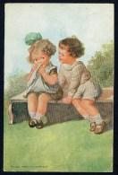 Fialkowska, W. - Do You Really Cry Honestly? - Boy, Girl, Bench ----- Postcard Not Traveled - Fialkowska, Wally