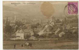 Marmagne Vue Panoramique Attelage Boeuf Voyagé Type Paix 1934 - Autres Communes