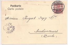 Pa97 - MULHAUSEN - 1909 - PERFORE UM = USINE DE MULHOUSE SACM = Société Alsacienne Constructions Mécaniques -Audincourt - Postmark Collection (Covers)