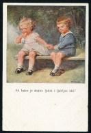 Fialkowska, W. - Ah Kako Je Slatko Ljubit I Ljubljen Biti! - Boy, Girl, Bench ----- Postcard Not Traveled - Fialkowska, Wally