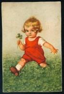 Fialkowska, W. - Girl, Meadow, Clover ----- Postcard Traveled - Fialkowska, Wally
