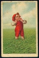 Fialkowska, W. - Boy, Meadow, Clover ----- Postcard Traveled - Fialkowska, Wally