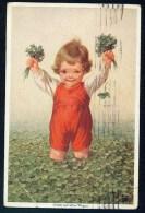 Fialkowska, W. - Gluck Auf Allen Wegen - Boy, Meadow, Clover ----- Postcard Traveled - Fialkowska, Wally