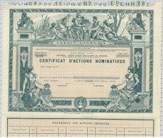 Credit Lyonnais, Certificat D'actions, Super Déco! - Banque & Assurance