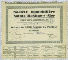 Sté Immobiliere De Sainte Maxime Sur Mer, Sts Et Ss à Frejus, Tirage De Seulement 260 Actions! - Tourisme