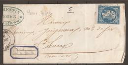 LA RARE NUANCE Bleu Vert Du N°14A En BdF Et Imp Très Usée+ LPC 1383 Genlis (15€) - 1853-1860 Napoléon III