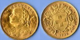 Pièce Or 20 Francs Suisse, 1935, 6,45 G - L. 20 Francs