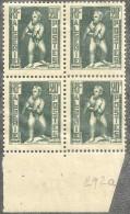 1952 Algérie N° 292a Nf** . RARE . (Bloc X 4)  Papier Carton . Statue . Enfant à L'aiglon. - Neufs